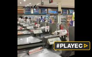 Terremoto en Ecuador: el pánico del sismo en un supermercado