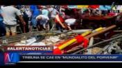 Dos heridos tras caída de tribuna en Mundialito El Porvenir