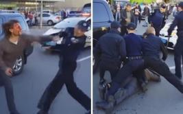 7 policías, incapaces de reducir a excampeón de lucha [VIDEO]