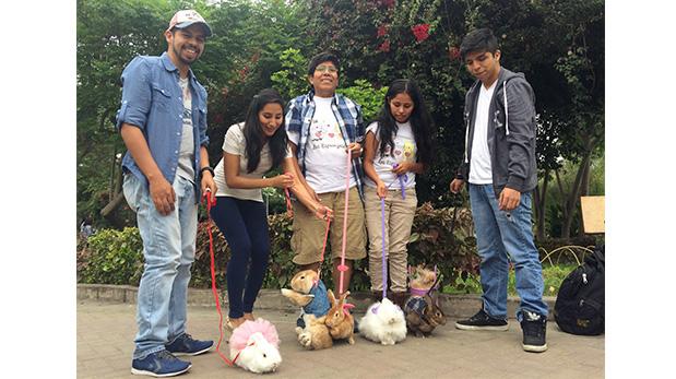 Los conejos también salen a pasear con arnés y correa. No son tan rápidos como los perros, pero igual se divierten.