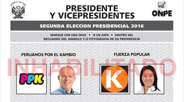 La segunda vuelta entre Keiko Fujimori y Pedro Pablo Kuczynski será el domingo 5 de junio. (Foto: ONPE)