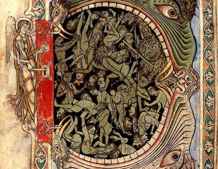 Un ángel a punto de abrir las puertas del infierno en esta imagen de entre 1121 y 1161.