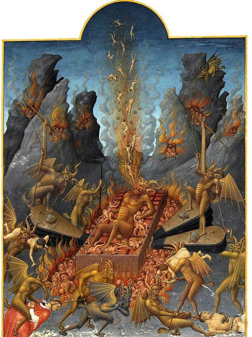 En el Apocalipsis, se predice el fin del diablo en el infierno, aunque sufriendo como todas las otras almas que han caído ahí, como en esta imagen de los hermanos Linbourg (1385–1416), en la que Lucifer tortura y es torturado.