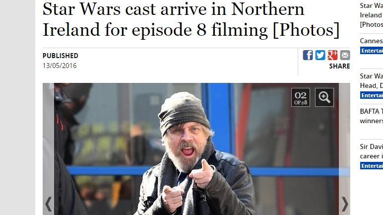 Mark Hamill es Luke Skywalker. (Captura: The Belfast Telegraph)