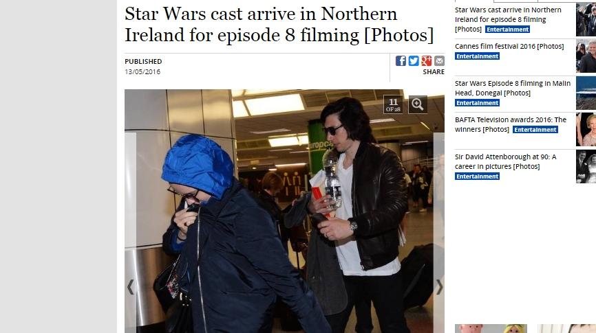 Daisy Ridley y Adam Driver, intérpretes de Rey y Kylo Ren, respectivamente. (Captura: The Belfast Telegraph)