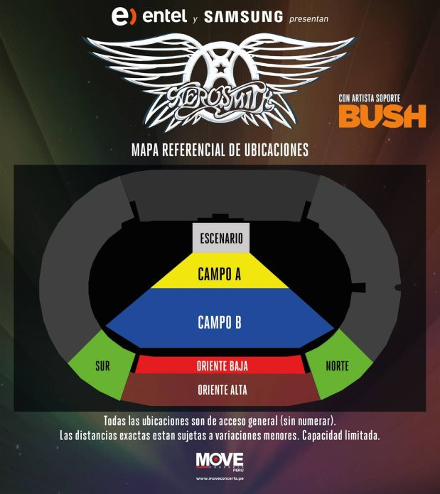 Aerosmith en lima se agotan entradas para zona oriente for Puerta 9 del estadio nacional de lima