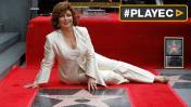 Angélica María y su estrella en Paseo de la Fama de Hollywood