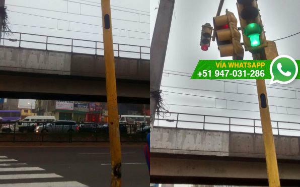 Semáforo inclinado en cruce de avenidas de San Juan de Miraflores (Foto: WhatsApp El Comercio)
