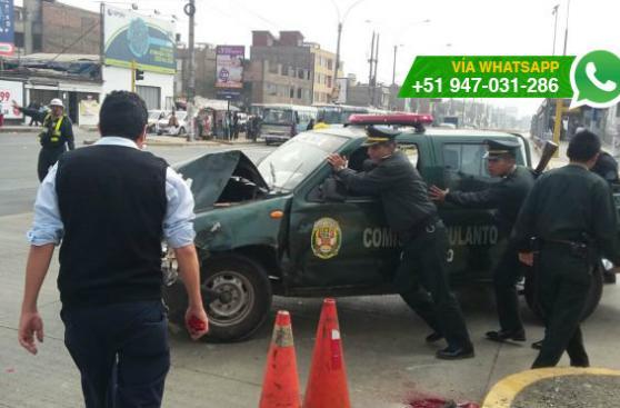 Metropolitano: choque entre patrullero y mototaxi invadió vía