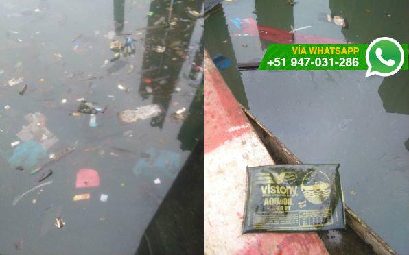 Residuos son arrojados en muelle de Puerto Nuevo (Foto: WhatsApp El Comercio)