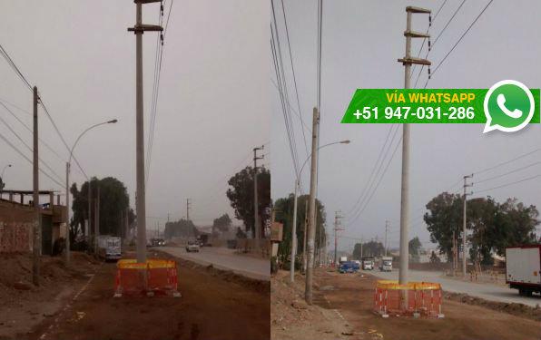 Pista nueva ha sido habilitada pese a que hay postes al medio de ella (Foto: WhatsApp El Comercio)