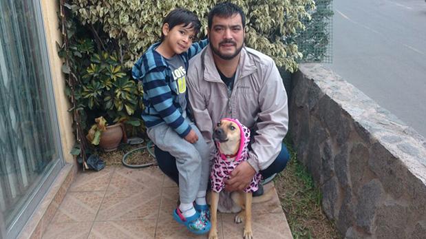 Arturo Barrios, su hijo Gonzalo y Tammy