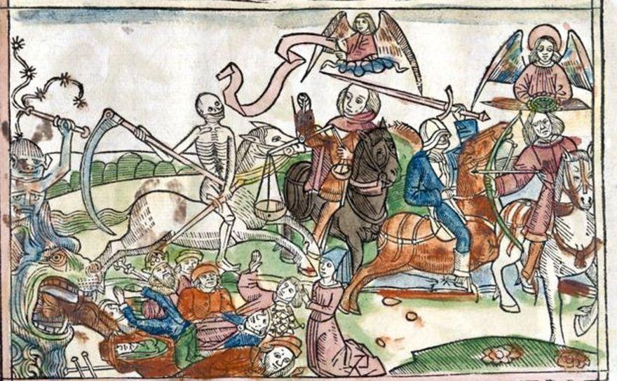 El Juicio Final será precedido por la llegada de los cuatro caballeros del Apocalipsis. Además de ellos, los ángeles (arriba der), los que serán juzgados y los monstruos completan esta imagen de 1522 de la Biblia Dudesch.