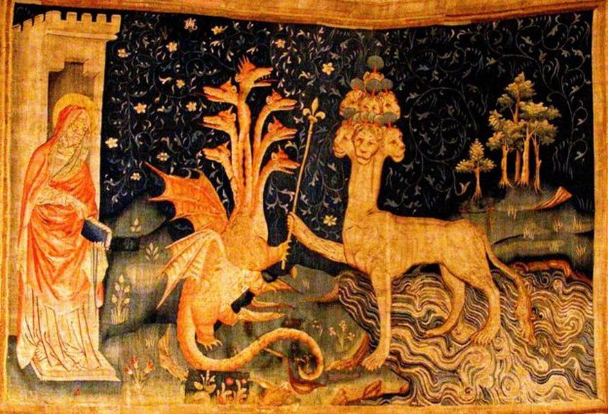 Este tapiz medieval muestra a San Juan, el dragón y a la bestia del mar. La Bête de la Mer (parte de la Tapisserie de l'Apocalypse en Angers, Francia).