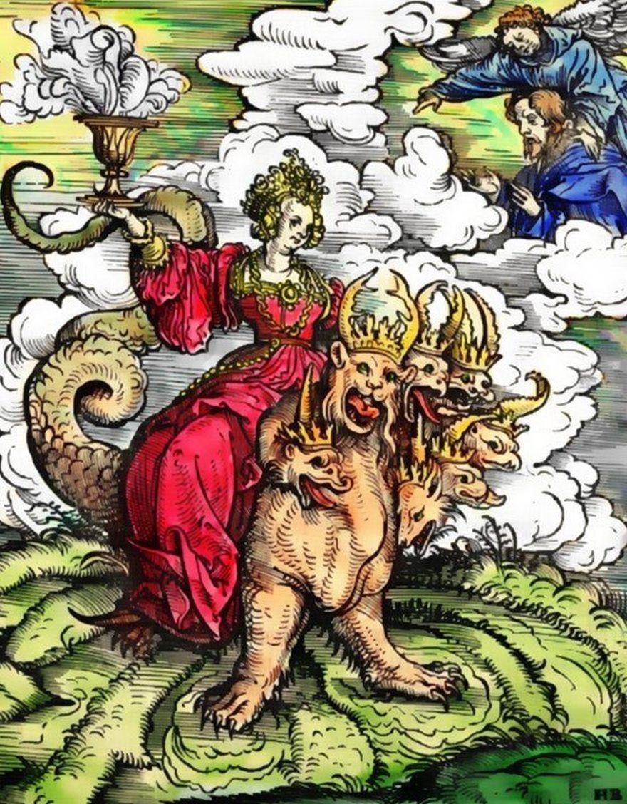 La puta de Babilonia montada sobre la bestia de las siete cabezas, imaginada y grabada en madera por Hans Burgkmair en 1523, para el Nuevo Testamento de Martin Lutero.