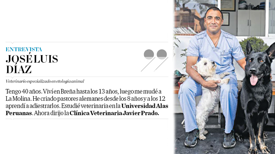 José Luis posa junto al pastor alemán bicolor Lono y al west highland white terrier Bongo. (Percy Ramírez / El Comercio)