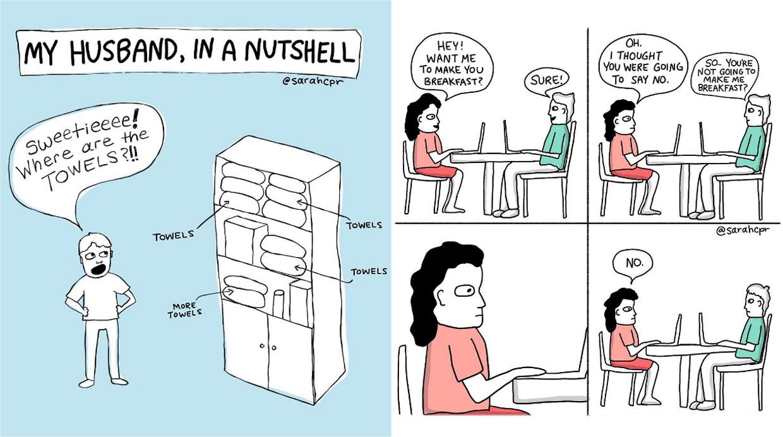 La realidad de la vida en pareja en divertidos dibujos