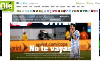 Prensa argentina 'llora' adiós de Messi tras la derrota