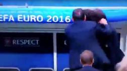 El alocado festejo de Conte tras el gol de Italia a España