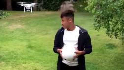 Neymar demostró habilidad y puntería en desafío con drone