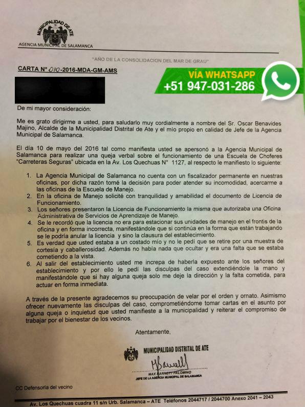 (Foto: WhatsApp El Comercio)