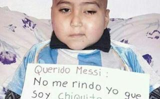 Niño con cáncer cerebral le pide a Lionel Messi que no se rinda