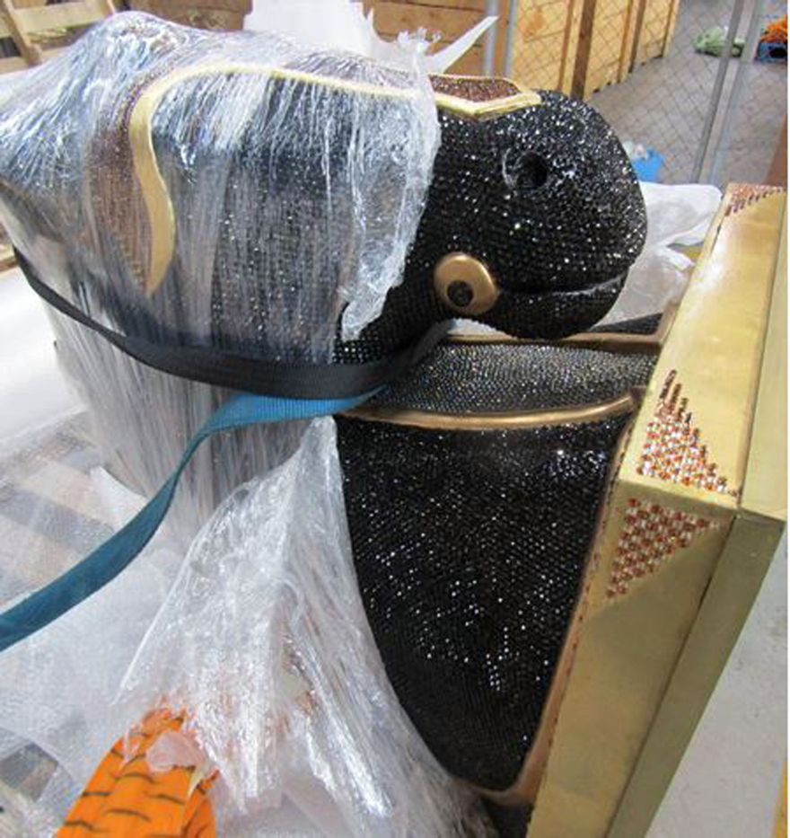 An undated handout photo obtained on July 3, 2016, shows a large diamante-encrusted horse head from Mexico from which New Zealand police said they have seized a record 10 million USD worth of cocaine hidden inside.  The largest-ever haul of the drug in New Zealand has been linked to the rebuild of the city of Christchurch, severely damaged in a 2011 earthquake, and the Australian market. / AFP / BATES, Beth