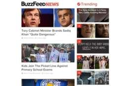 Así se ve, por ejemplo, la sección de tópicos que son tendencia en Buzzfeed.