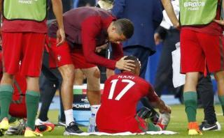 Cristiano Ronaldo animó a sus compañeros a pesar de su lesión