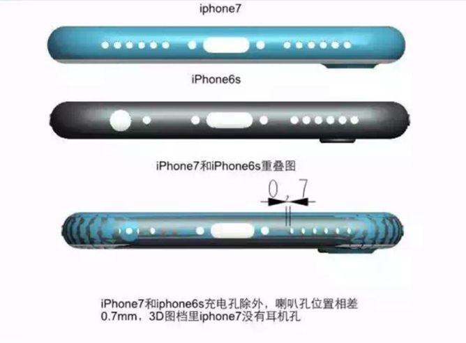 Estos diagramas muestran cuáles serían las dimensiones del iPhone 7. Acá se muestra que no tendría conector para auriculares. (Internet)