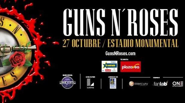 Los Guns N' Roses se presentarán en Lima. Este es el afiche oficial. (Foto: Facebook)