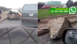 Así quedó el auto dañado por una roca en Ventanilla (VIDEO)
