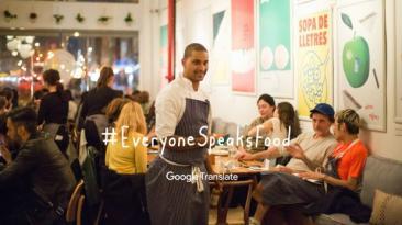 Google promociona su traductor con un restaurante multilingüe