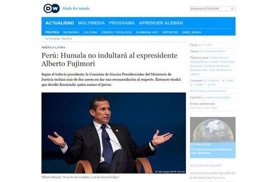 Medios internacionales: Humala descarta indultar a Fujimori