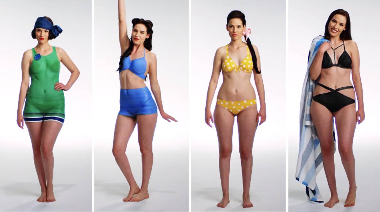 Cien a os de trajes de ba o pintados en un mismo cuerpo moda vi - Moda en banos ...