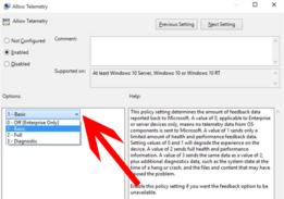 Para limitar la telemetría en circunstancias normales (sin Windows Enterprise), llévala al nivel