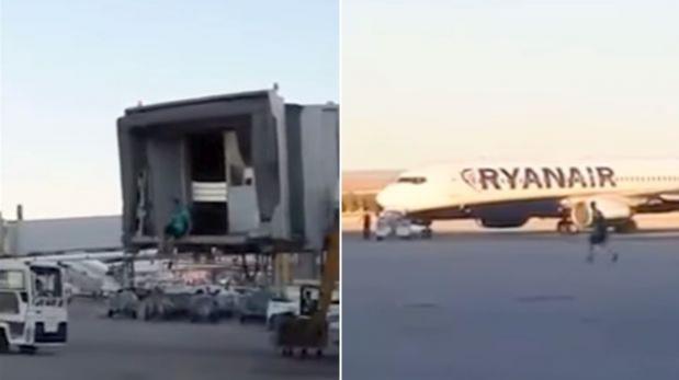 Detienen a pasajero que salió corriendo tras avión — España