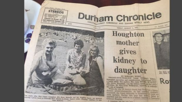 La historia del trasplante de Sue apareció en los diarios locales. (Foto: BBC)