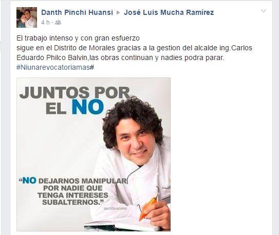 El alcalde de Morales, Carlos Philco, y su campaña han recurrido al rostro de Gastón Acurio. (Facebook)