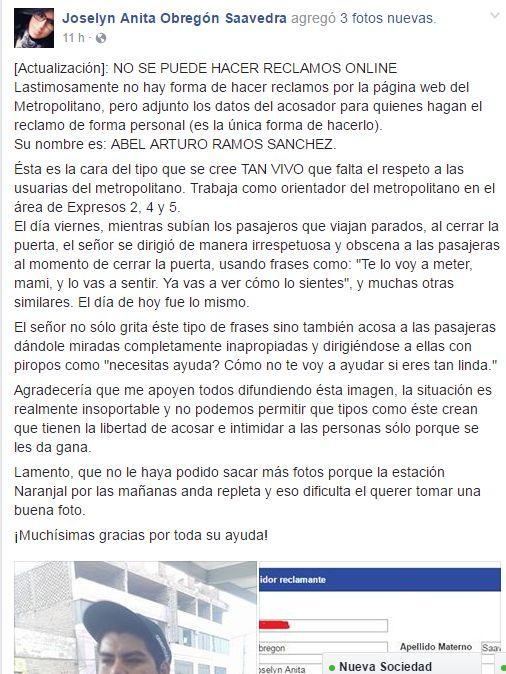 Una pasajera denunció a través de Facebook a Abel Ramos Sánchez, un orientador del Metropolitano en Naranjal. (Facebook)