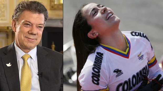 Juan Manuel Santos y Mariana Pajón. (AFP / AP)