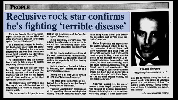 El comunicado de Freddie Mercury en un reporte de la prensa estadounidense. (Foto: Archivo Internet)