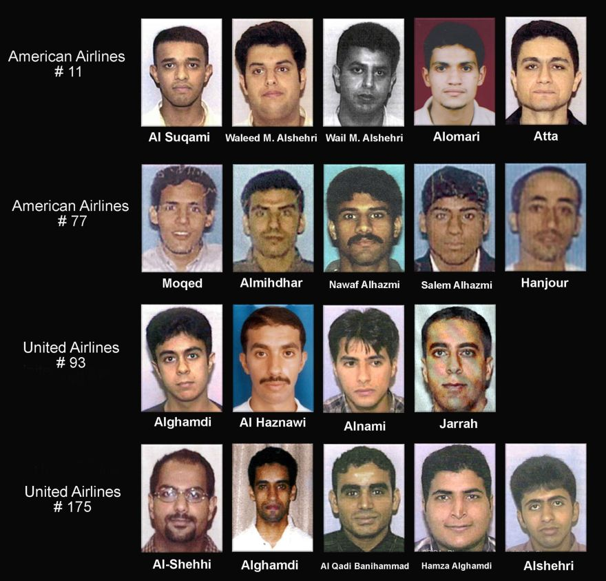The U.S. Department of Justice released September 27, 2001 the following names with pictures of the hijack suspects: (Top, L-R) Satam Al Suqami, Waleed M. Alshehri, Wail Alshehri, Abdulaziz Alomari and Mohamed Atta and were aboard American Airlines Flight 11, which destroyed the World Trade Center. Majed Moqed, Khalid Al-Midhar, Nawaf Alhamzi, Salem Alhamzi and Hani Hanjour were on American Airlines Flight 77, which gouged a hole in the Pentagon building. Saeed Alghamdi, Ahmed Alhaznawi, Ahmed Alnami and Ziad Samir Jarrah were on United Airlines Flight 93, which crashed in the Pennsylvania countryside. Marwan Al Shehi, Ahmed Alghamdi, Fayez Rashid Ahmed Hassan Al Qadi Banihammad, Hamza Alghamdi, and Mohald Alshehri were flying on United Airlines Flight 175, which destroyed the World Trade Center.