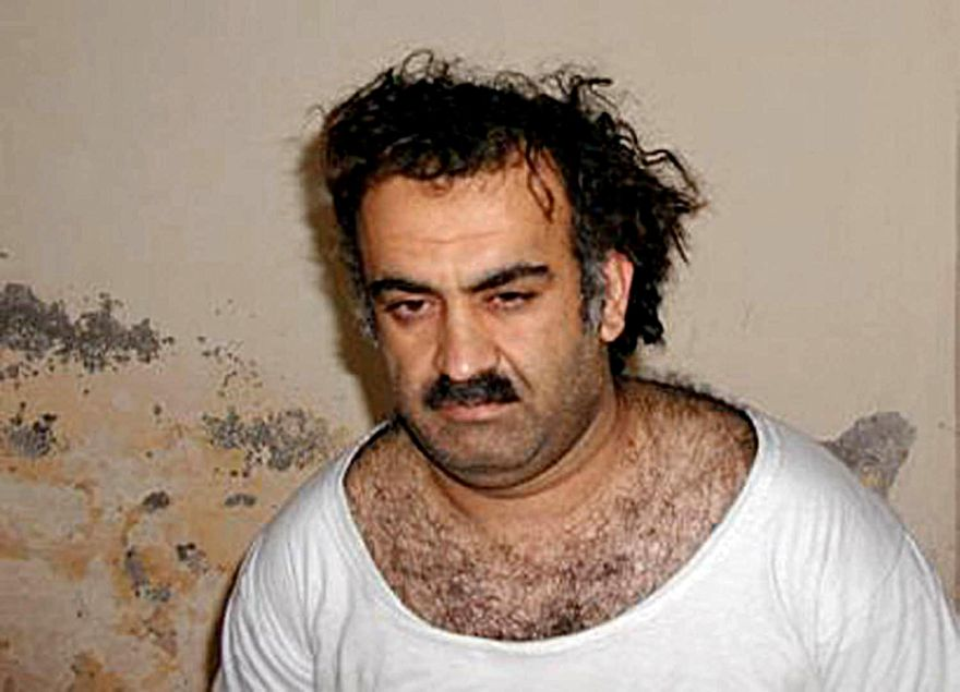 STRICTED TO EDITORIAL USE - NO MARKETING NO ADVERTISING CAMPAIGNS - DISTRIBUTED AS A SERVICE TO CLIENTS =(FILES): This photo obtained  March 1, 2003 shows alleged plotter of the September 11, 2001 attack Khalid Sheikh Mohammed. The mastermind of the 9/11 attacks warned that Al-Qaeda has hidden a nuclear bomb in Europe which will unleash a