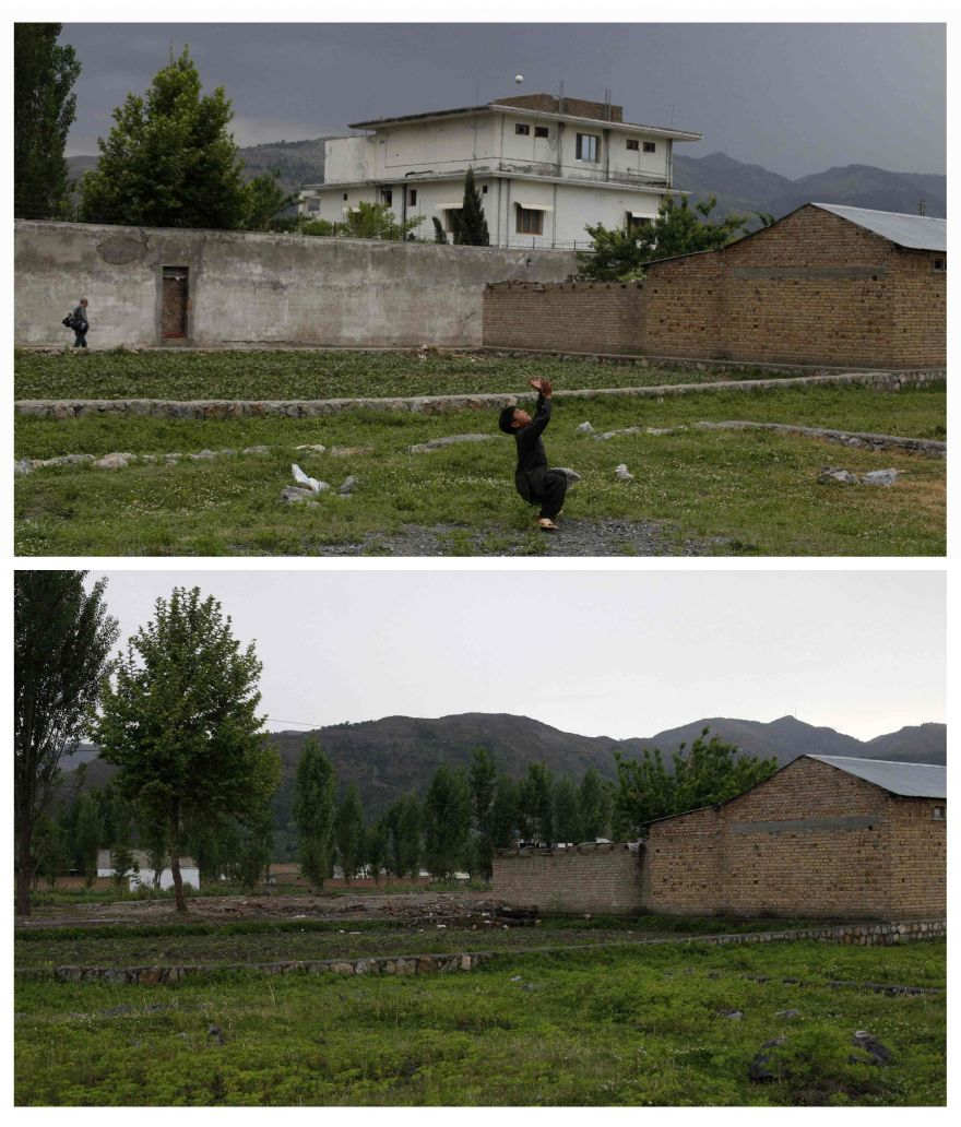 A combination photograph shows Osama bin Laden's compound in Abbottabad, Pakistan, on two different dates, in this May 5, 2011 file picture (top) after a United States military raid that resulted in his death and April 22, 2012 (bottom) almost a year later.     REUTERS/Akhtar Soomro/Files    (PAKISTAN - Tags: SOCIETY) ATTENTION EDITORS PICTURE 24 OF 25 FOR PACKAGE 'ABBOTTABAD - A YEAR AFTER BIN LADEN'