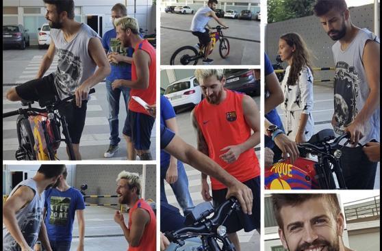 Messi y Piqué dejan los superautos por las bicicletas [FOTOS]