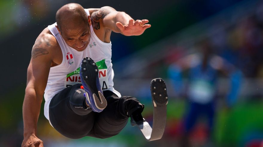 Peru's Carlos Felipa competes in the men's long jump T42 final, during the Paralympic Games, at the Olympic Stadium, in Rio de Janeiro, Brazil, Saturday, Sept. 17, 2016. (AP Photo/Mauro Pimentel)
