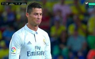 Cristiano y su rostro disconforme por el cambio ante Las Palmas