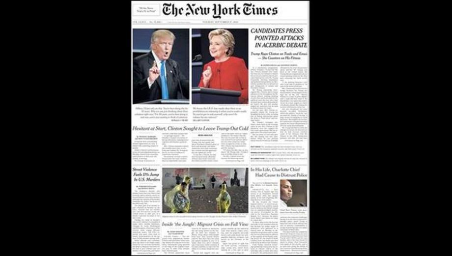 EE.UU.: Las portadas de los diarios tras debate Clinton - Trump