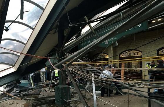 Así quedó la estación de tren en Nueva Jersey tras el accidente